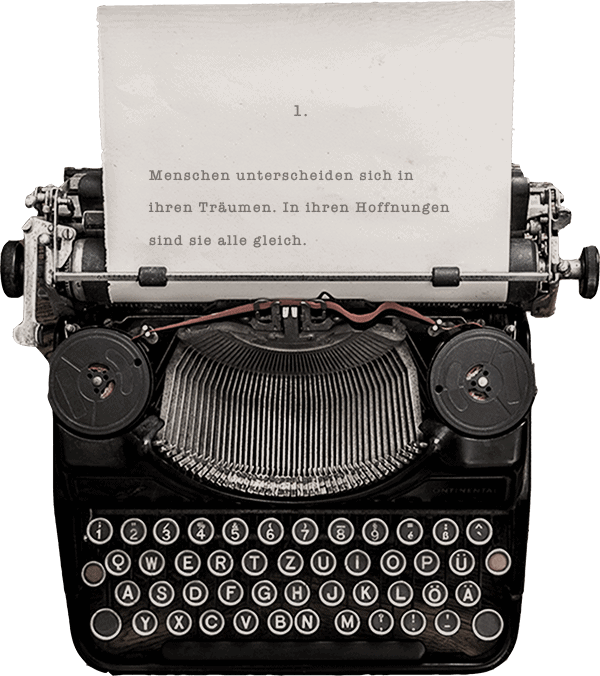 Typewriter with first 2 sentences of the book